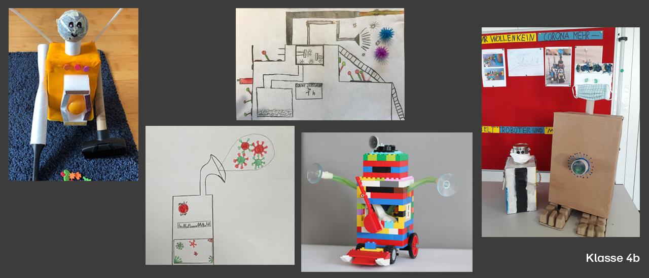 Homeschooling-Roboter und -Maschinen gegen die Viren der Klasse 4b